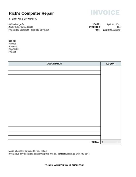 computer repair invoice template best photos of generic quote template price quote