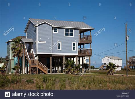 house on stilts wooden house on stilts on front galveston usa