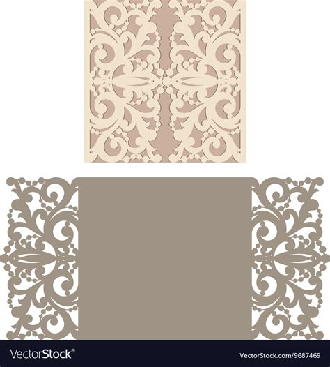 Laser Cut Templates Laser Cut Envelope Template For Invitation Vector Image