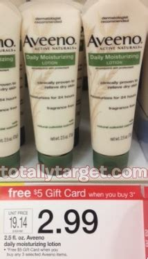 Completely Free Gift Cards - target free aveeno lotion with gift card deal