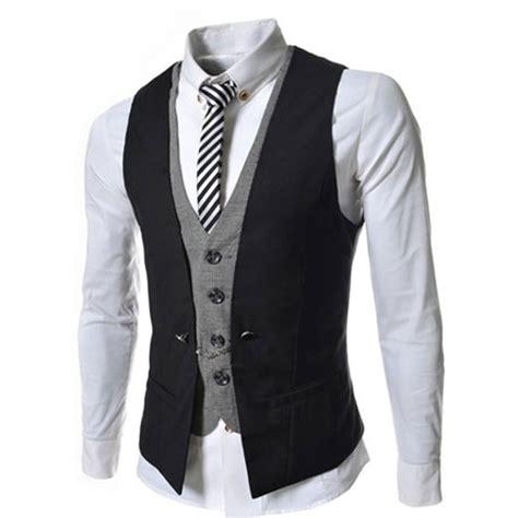 Vest Casual fashion 2015 slim mens waistcoat casual vest v necked dress classic suit vest business