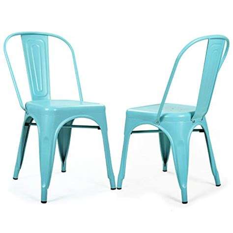 Saf 41 Blue Set adeco metal stackable industrial chic dining bistro cafe side chairs blue set of 2