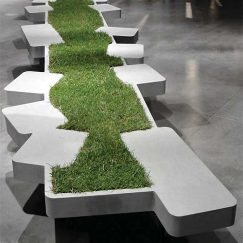 panchine di design saturnia grass bench nature biophilic design mocha