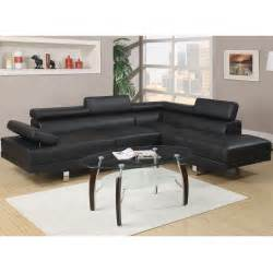 Faux Leather Sectional Sofa 2 Pieces Black Faux Leather Sectional Sofa Set With Right Facing Chaise New Ebay