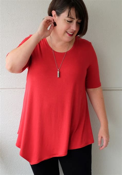 kimberly swing red rayon kim swing top by meg project sewing shirts