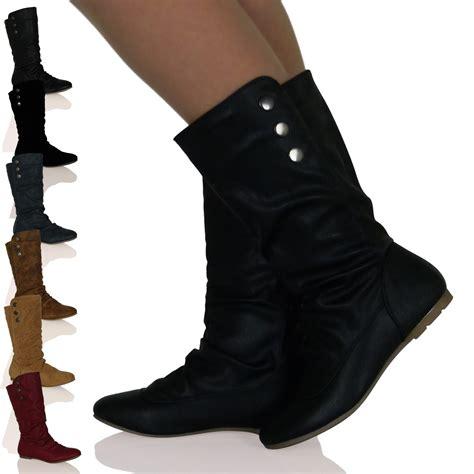 b5q womens black matte pull on flat mid calf stud