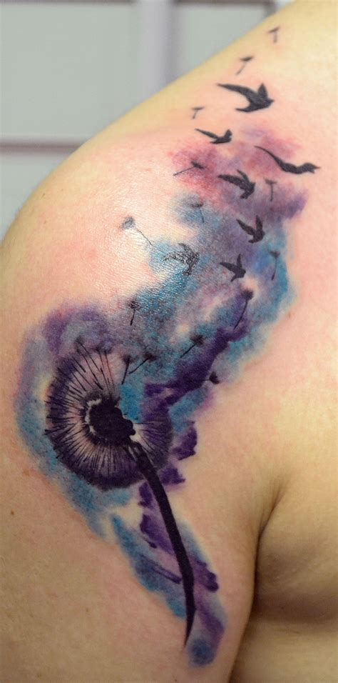 watercolor tattoo dandelion watercolor dandelion color tattoos tattoos