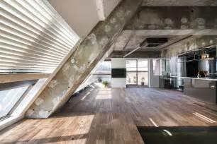 Split Level Open Floor Plan Kitchen an apartment block attic conversion in tokyo by g architects
