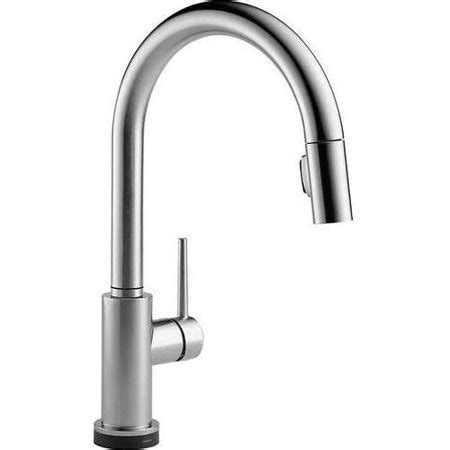 touch activated kitchen faucet delta trinsic touch activated kitchen faucet with pull