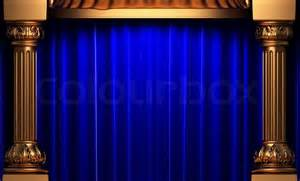 Classic Curtains Blue Velvet Curtains Behind The Gold Columns Made In 3d