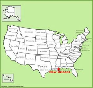 New Orleans Us Map by New Orleans Location On The U S Map