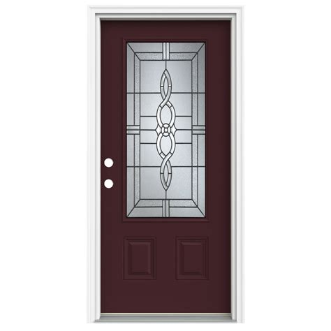 Lowes Doors Exterior Fiberglass Shop Reliabilt 3 4 Lite Decorative Currant Prehung Inswing Fiberglass Entry Door Common 36 In