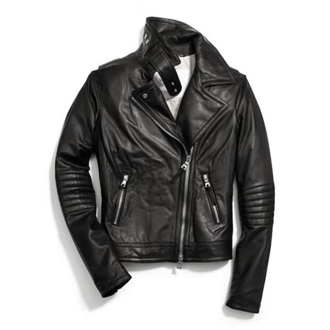 leather moto jacket lyst coach slim leather moto jacket in black
