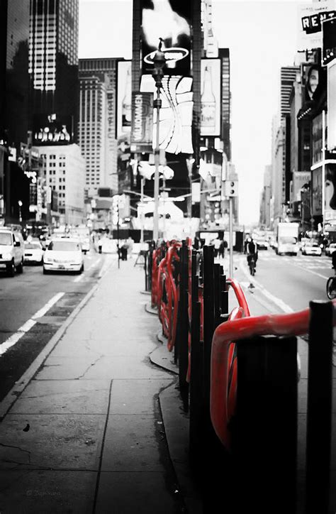 New York Times Square Black And White Photography With Black And White With Color Accents