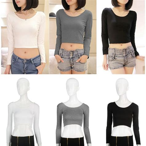 Belly Top fashion sleeve cropped top t shirt belly tops