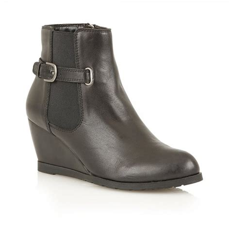 winslow black leather wedge ankle boot