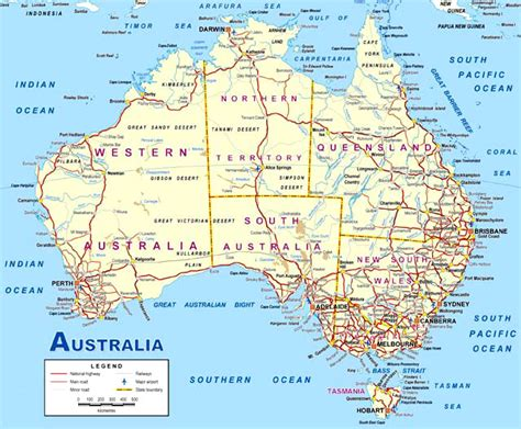 printable australian road maps map of australia this detailed map of australia is