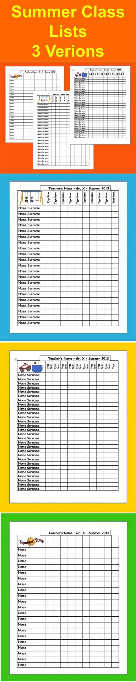 Summer School Class List Templates 3 To Choose Summer School C Template Class