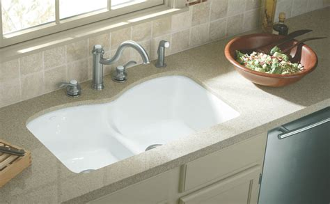 What Is An Undermount Kitchen Sink Kohler K 6626 6u 0 Langlade Smart Divide Undercounter Kitchen Sink White Bowl Sinks