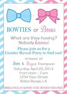 bowties or bows gender reveal invitation gender reveal