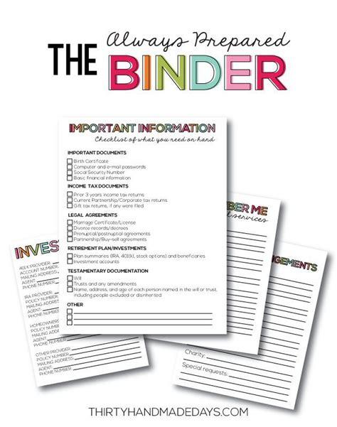 Family Binder Printables