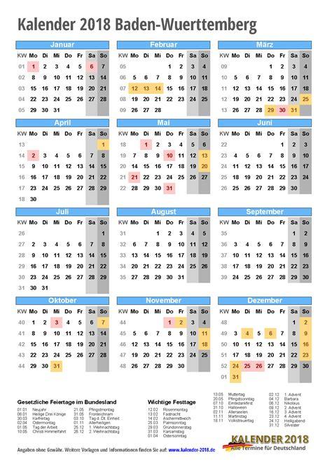 Kalender 2018 Bw Kalender 2018 Baden W 252 Rttemberg Zum Ausdrucken 171 Kalender 2018
