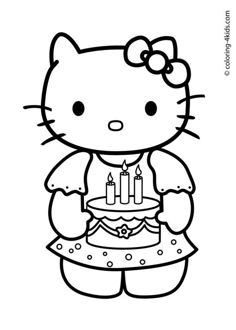 happy birthday coloring pages hello kitty hello kitty happy birthday coloring pages pinterest