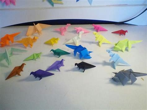 World Record Origami - largest multi colored origami dinosaur collection world