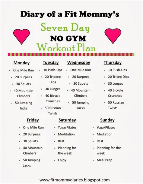 at home work out plans diary of a fit mommy s 7 day no gym workout plan fit