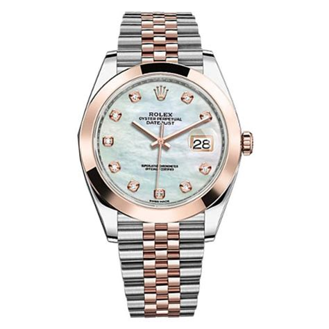 Rolex Rantai Silver Combi Rosegold rolex datejust 41 126301 gold stainless steel white of pearl set with