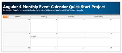 angular monthly event calendar quick start project