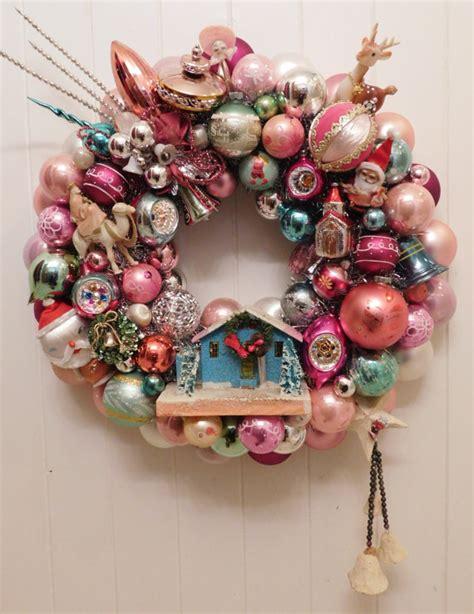 vintage christmas ornament ball wreath with retro kitsch putz