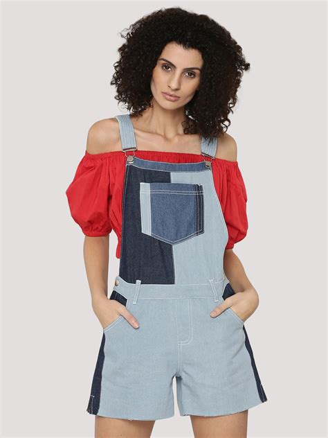 Patchwork Dungarees - buy k denim patchwork dungaree for s blue