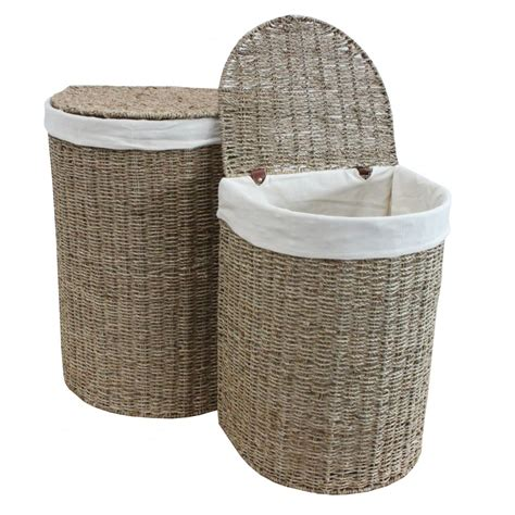 Seagrass Half Moon Laundry Basket Lined Seagrass Laundry