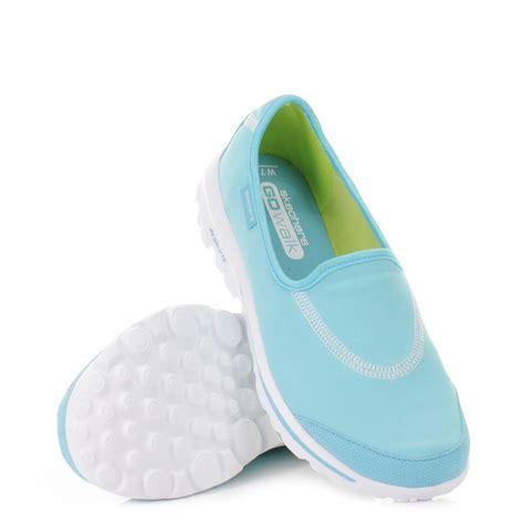 womens skechers go walk baby blue flat cushioned shoes