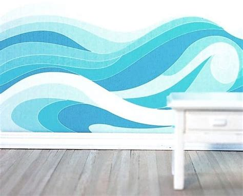 watercolor ocean pattern diy wall mural kit in a original ocean waves pattern