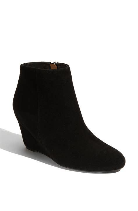 via spiga harrison wedge bootie in black black suede lyst