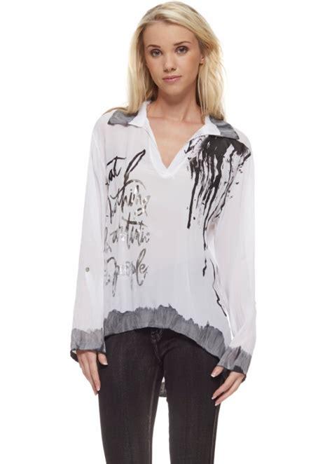 Blouse Semi Kaftan Branded monton white silk blouse white silk designer silk blouse