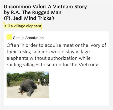 ra the rugged uncommon valor kill a elephant uncommon valor a story