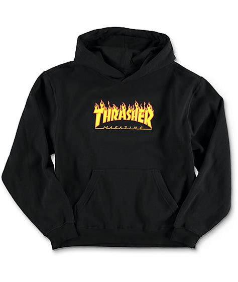 thrasher boys logo black hoodie