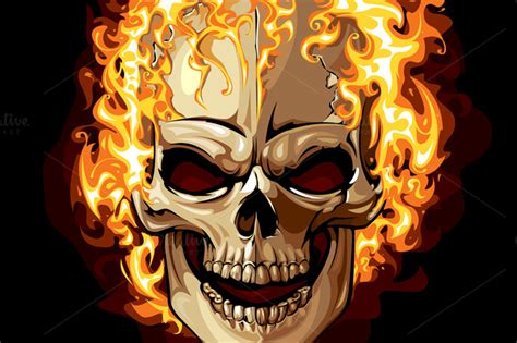 burning skull vector illustrations on creative market