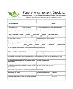 Funeral Planner Template by Sle Funeral Checklist Template 13 Documents In Pdf