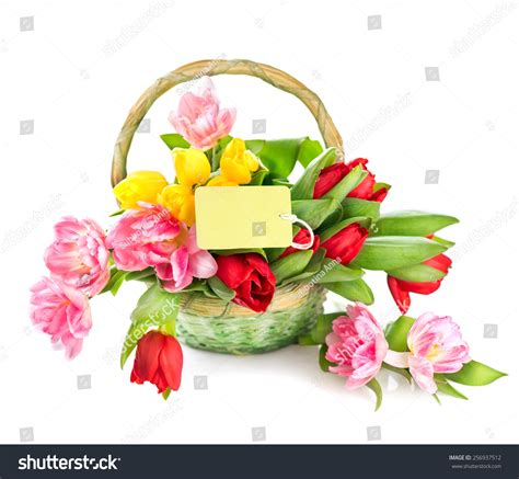 basket of flowers new year greeting card design shop flowers basket greeting card stock photo