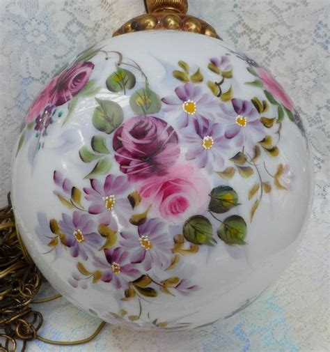 hand painted milk glass globe hanging lamp roses and