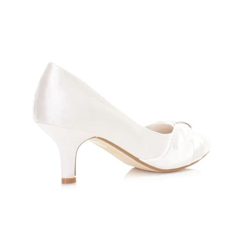 womens low kitten heel bridal wedding white satin diamante