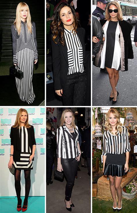imágenes en blanco y negro con un toque de color tendencias looks a rayas en blanco y negro