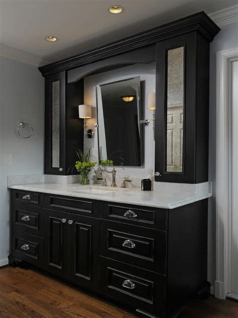 black bathroom cabinets white counters design pictures remodel decor ideas page favorite places spaces black cabinets