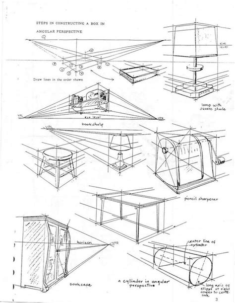 2 Drawings In 1 by 1 Point Perspective Worksheet Scenarios For Objects