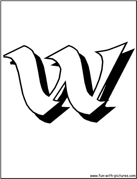 block letter w letter w block colouring pages