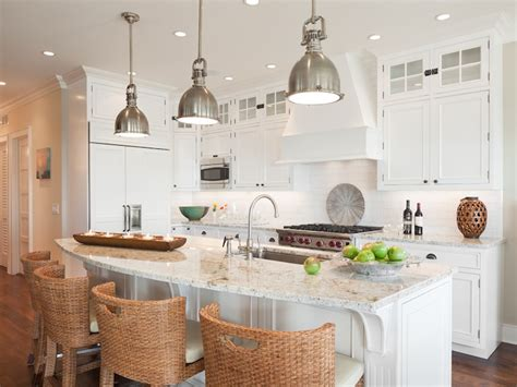White Kitchen Pendant Lights White Granite Countertops Cottage Kitchen Richard Bubnowski Design
